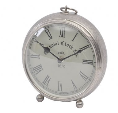 Namala Antique Nickel Iron Etched Mantel Clock