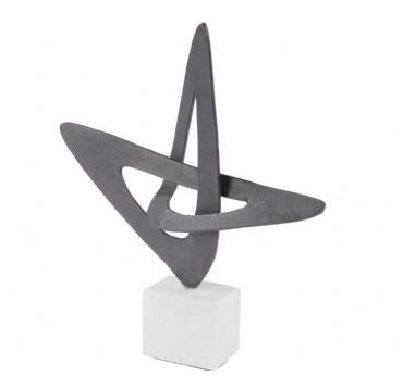 Matt Black Abstract Sculpture on Stone Base
