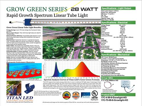 Titan LED Grow Tube HO 28 watt kit includes (1) 4' T8 Length Tube w/ (1) Driver