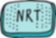 A hand illustrated blue nicotine patch with the letters NRT written inside