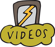A hand illustrated smartphone with a yellow lightning bolt inside, resting vertically on top of a yellow-green cloud marked with the word Videos
