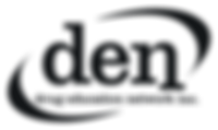 Drug Education Network Logo: A broken oval with pointed ends surrounding the letters 'den' and 'drug education network inc.'