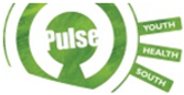 Pulse Youth Health South Logo: An abstract green target with 'Pulse' in the bullseye, with 'Youth' 'Health' and 'South' appearing in green rectangles sticking out from the right side.
