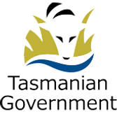 Tasmanian Government Logo: Abstract art featuring a Tasmanian Tiger head peering over yellow grass at a river below.