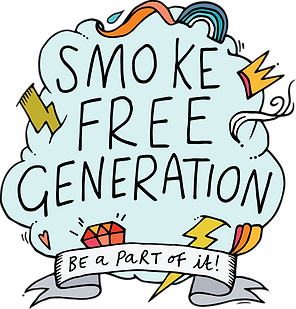 "Smoke Free Generation Logo: A hand illustrated light blue cloud with various multicoloured lightning bolts, jewels, swirls, and rainbows sticking out of it, with the text ""Smoke Free Generation"" inside the cloud and underneath it a white banner with the text ""Be a Part of it!"""