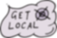 """A hand illustrated grey cloud with the text """"Get Local"""" inside, beside a small black registration mark in the top corner"""
