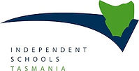 Independant Schools Tasmania Logo: A simplified green Tasmania shape on top of a swooping, curved triangle shape.