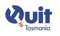 QUIT Tasmania logo: Navy blue QUIT in large letters with a cigarette forming the line of the Q.