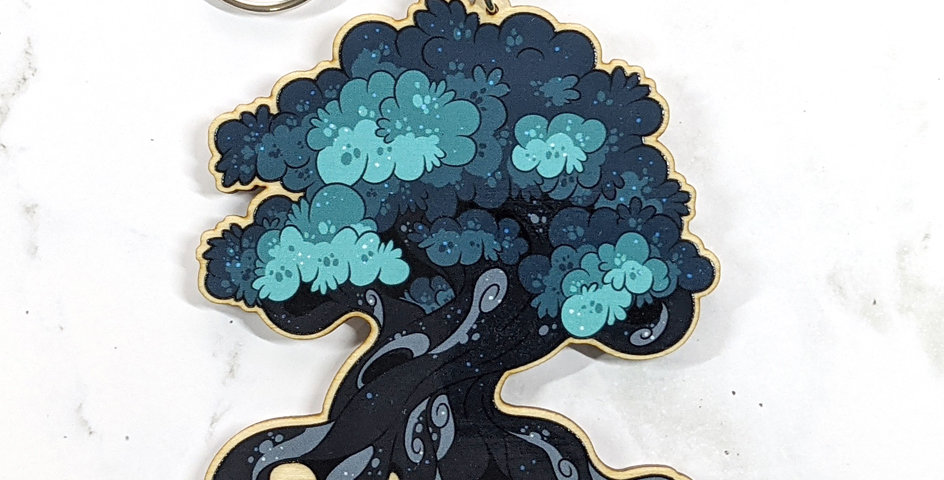 "3"" Wood Charm: Mystic Tree"