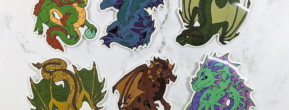 """Worldwide Dragons 3"""" Vinyl Sticker Set"""