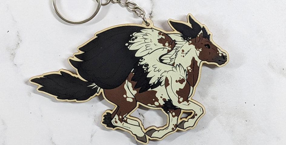 "3"" Wood Charm: Painted Pegasus"