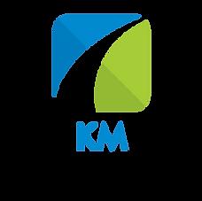 Logomarca KM Isenções: A logo é uma ilustração simples de um quadro com a extemidade superior esquerda na cor azul, simbolizando o céu. A extremidade inferior direita, na cor verde, simbolizando um gramado. No centro, a curva de uma estrada nas cores branca e preta.