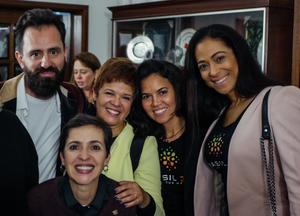 Os co-organizadores - Filipe Jeremias (Projeto RAD), Izabella Ceccato (O Poder da Colaboração, Solange Melo, Francisca Silva e Sílvia Medeiros (Brasil360)