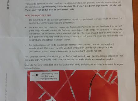 Vanaf 25/9: WIJZIGING rijrichting Brabançonnestraat