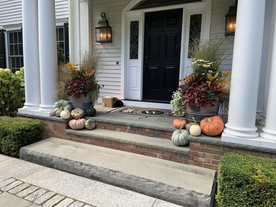 Containers on front porch steps