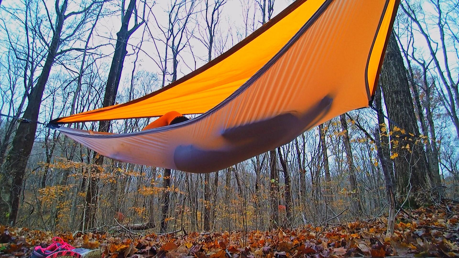 Two hammocks double as a sunshade