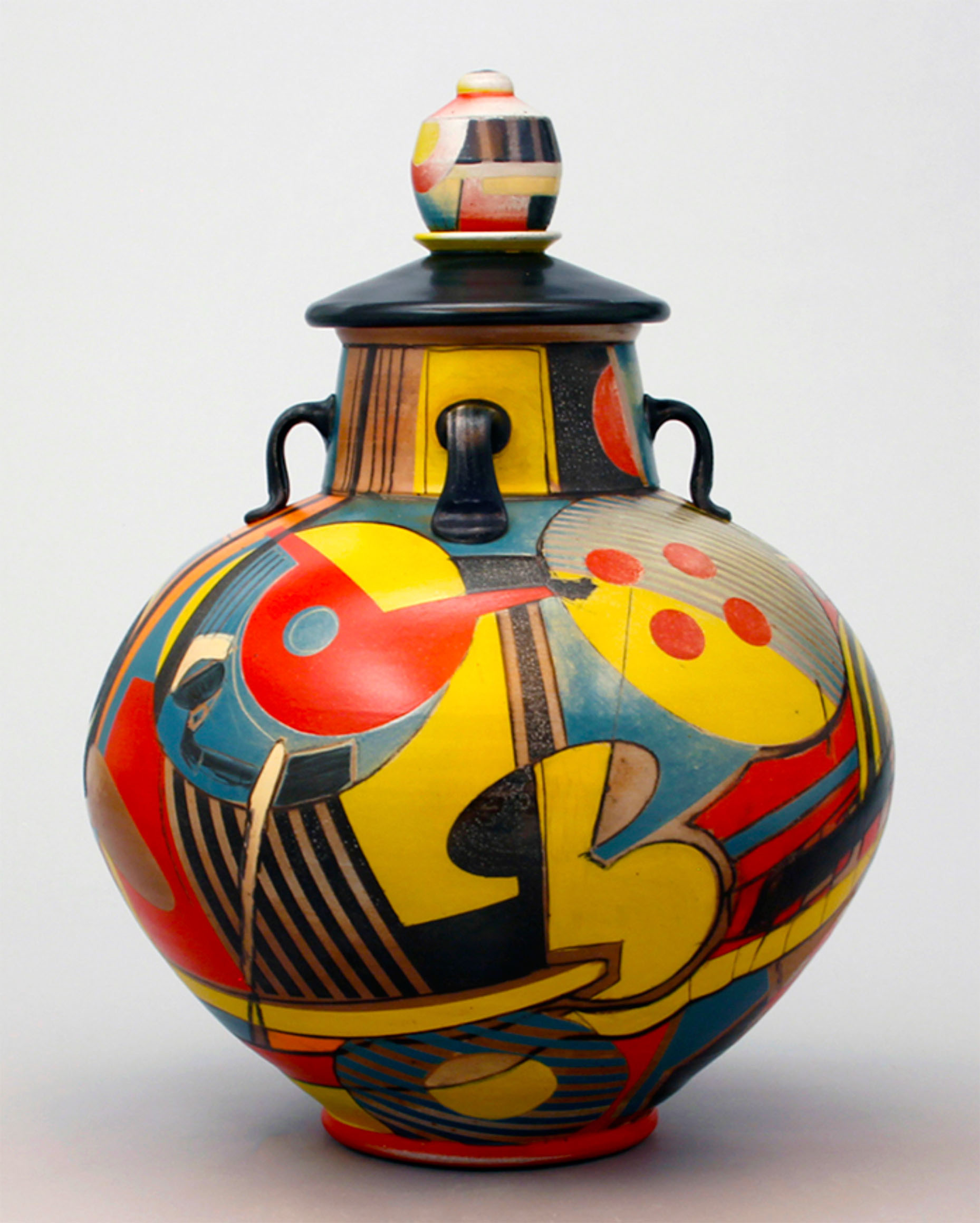 Graphic Lidded Vessel