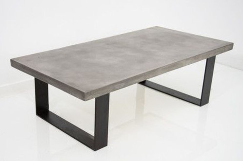 Concrete And Metal Dining Table U Shape - Concrete and metal dining table