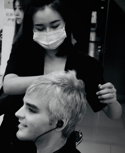 Slater in the makeup chair at Beijing TV
