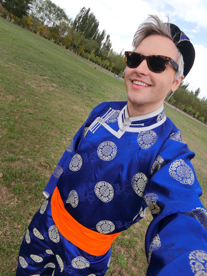 Slater filming a music video in Inner Mongolia