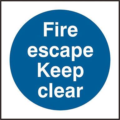 FIRE ESCAPE KEEP CLEAR SAV PK5 100MM X 100MM