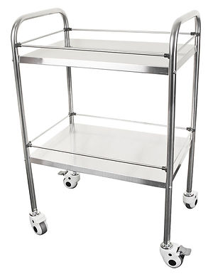 TWO TIER STAINLESS STEEL MEDICAL TROLLEY