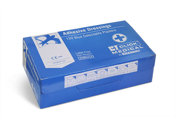 CLICK MEDICAL BLUE DETECTABLE PLASTERS ASSORTED