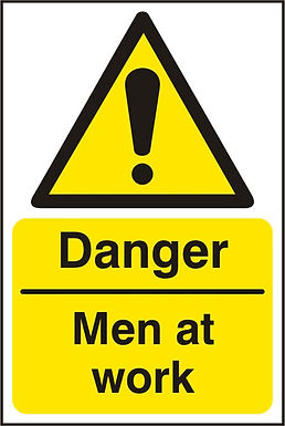DANGER MEN AT WORK SAV  (PK5) 200MM X 300MM