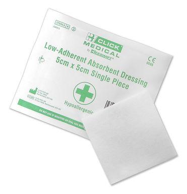 CLICK MEDICAL LOW ADHERENT DRESSING 5x5cm