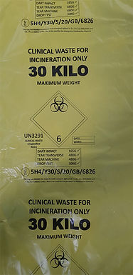 ADR CLINICAL WASTE BAGS 30KG YELLOW