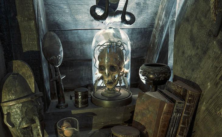 Skull under glass