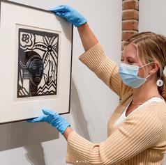 Installing Artworkj in Hanes Gallery