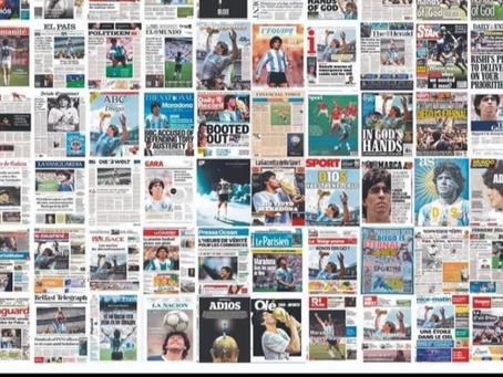 Manchetes do mundo todo para o gênio Maradona