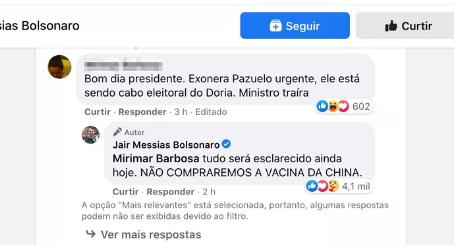Bolsonaro desautoriza compra de vacina da China