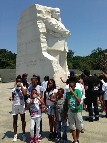 Campers at MLK Memorial in DC