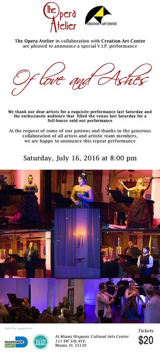 """16 de JULIO """"OF LOVE AND ASHES""""  Evento Especial por petición del Publico"""