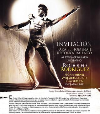 Homenaje y reconocimiento al exprimer bailarín argentino Rodolfo Rodríguez