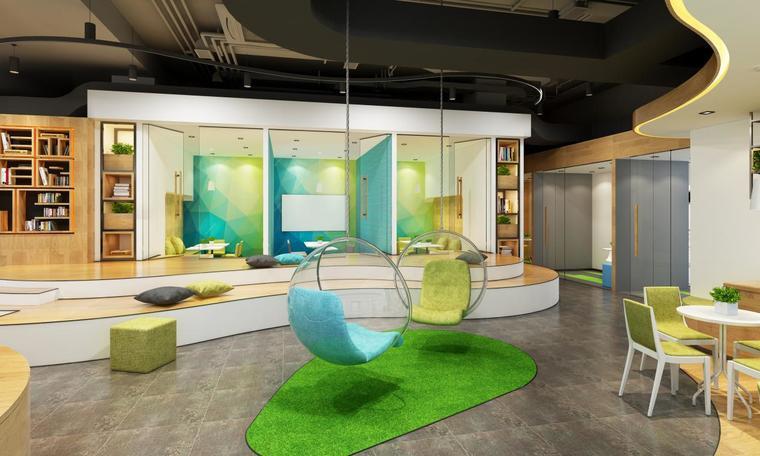 3D代繪-國外案例欣賞-英文培訓教室-休息區