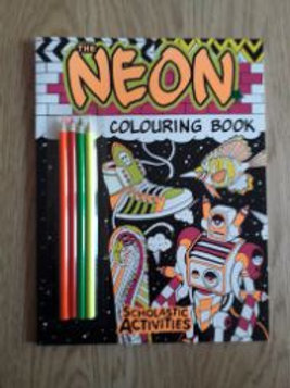 Neon Colouring Book with Pencils