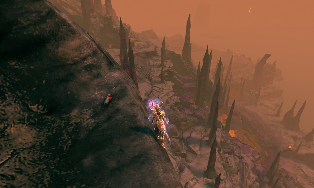 First jump to the Chalice of Tears in the magma lake in the Sopor Titanum volcano.