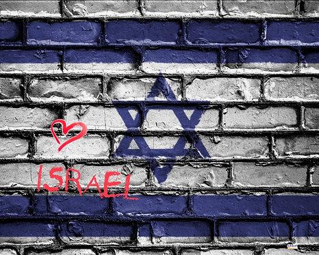 Heart Israel Flag Sukkah Banner