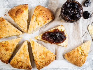 Cheese Scones with Sichuan California Prune Chutney