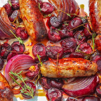 Sausages with Cherries, Red Onion and Thyme