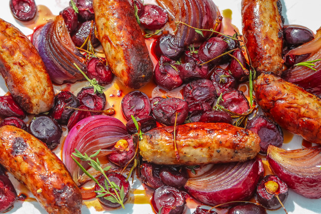 Cumberland Sausage with Cherries and Maple Syrup