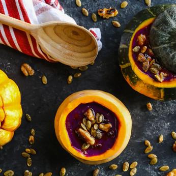 Purple Sweet Potato and Pumpkin Soup