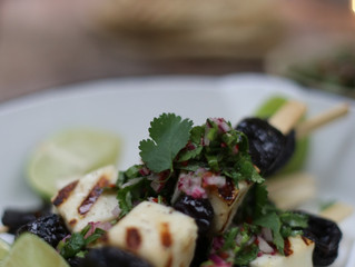 California Prune and Hallumi Skewers with Lime and Coriander Salsa