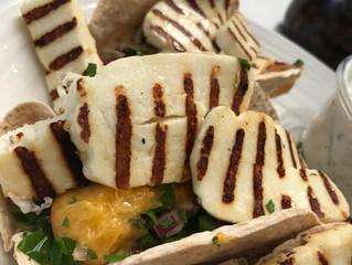 Hallumi Cheese and Flat Peach Tacos