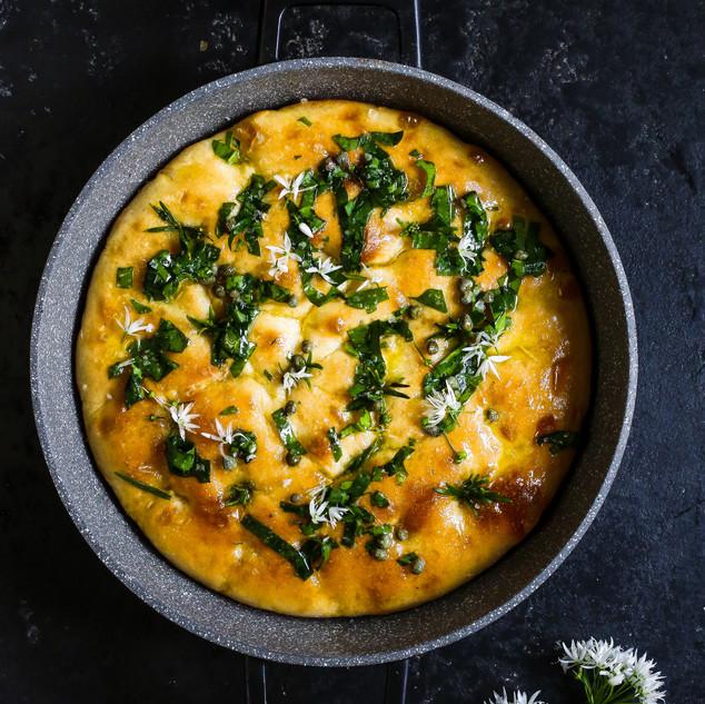 Wild Garlic and Caper Butter Focaccia
