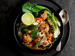 Asian Meatballs with Korean Noodles and Spring Onions- California Prunes