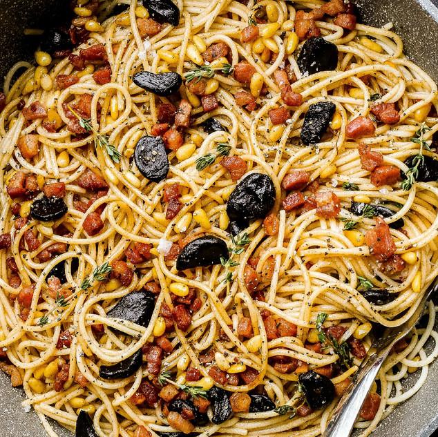 Black Garlic and Panchetta Spaghetti